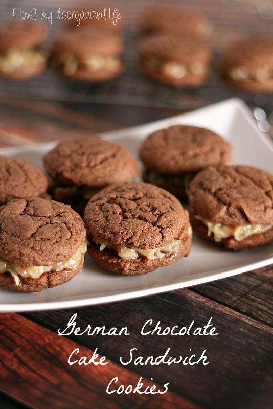 German Chocolate Cake Sandwich Cookies - {i love} my disorganized life
