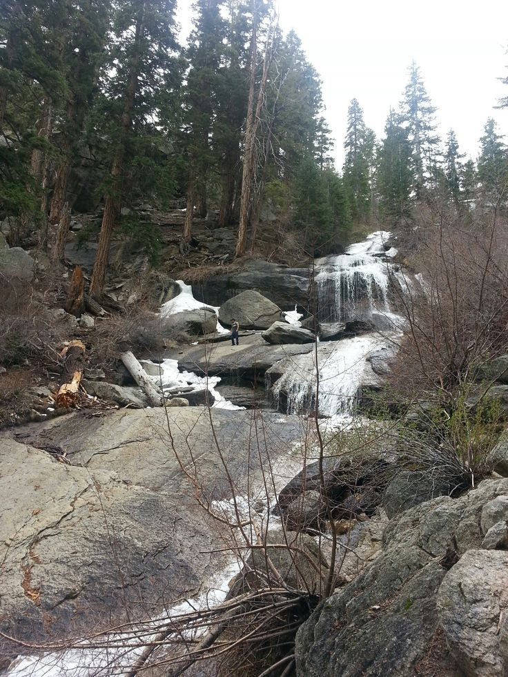 the waterfall up in whitney portal in lone pine, ca ...