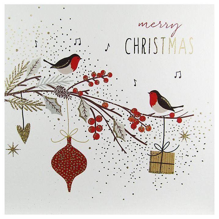 Buy Portfolio Robins On Branch Christmas Card Online at johnlewis.com