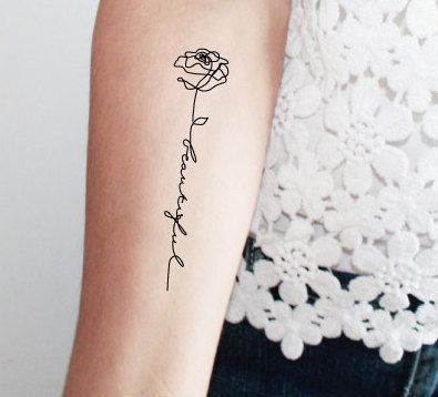 2 rose lettering temporary tattoos / word by encredelicate on Etsy
