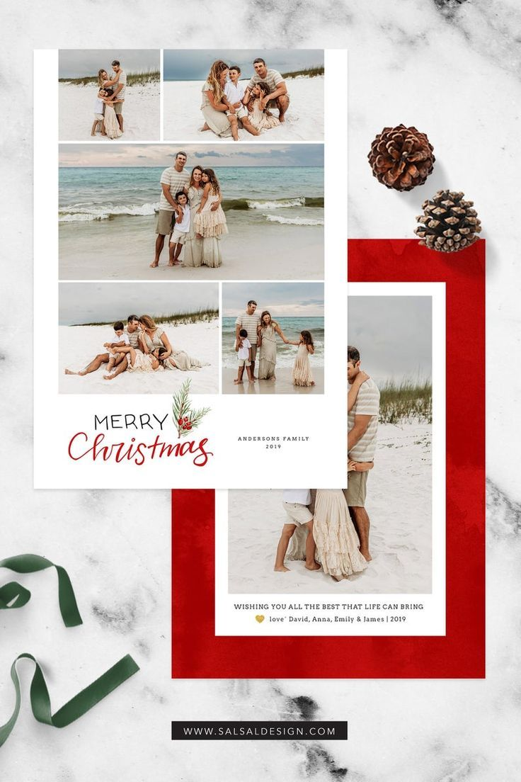 Colorful Christmas Card For Family Photographers Or Portrait Photographers Christmasca Christmas Card Photoshop Christmas Card Template Holiday Card Template