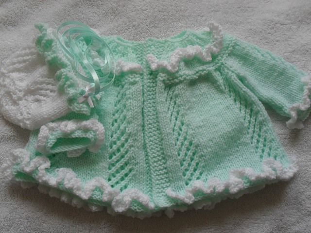 Ruffles and lace coat and baby bonnet knitting pattern