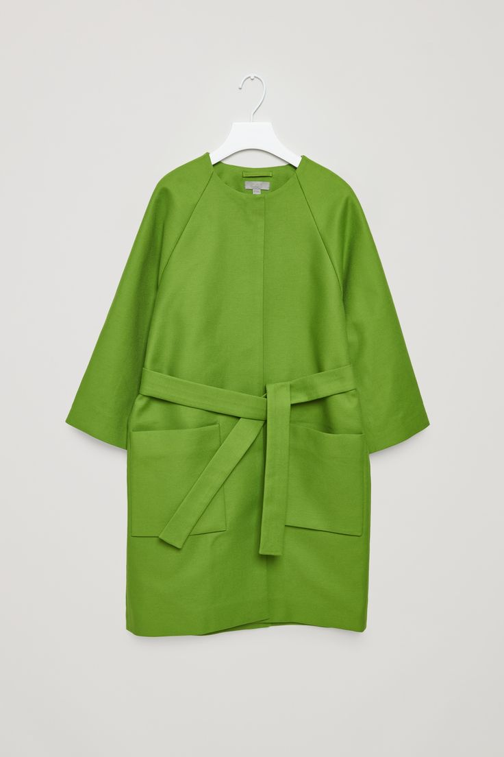 COS | Collarless coat with belt a bit of colour