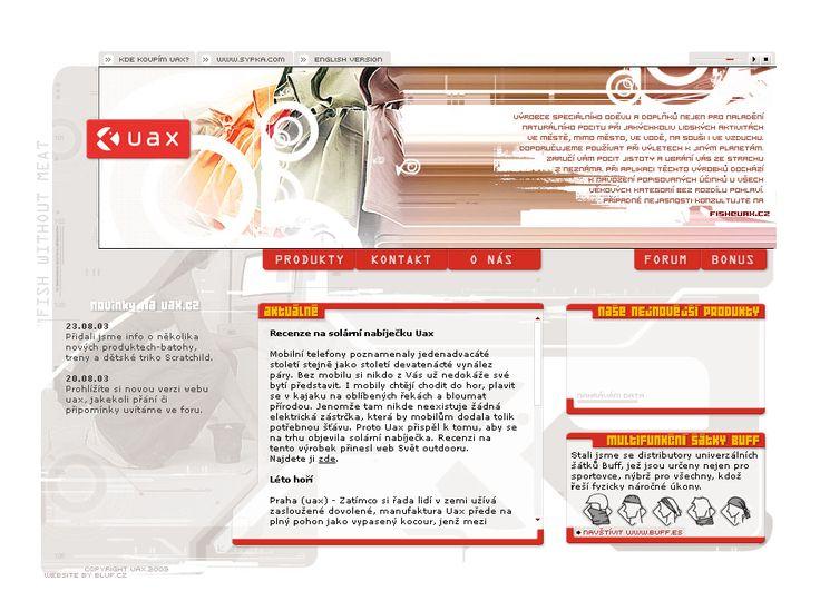 UAX website in 2003