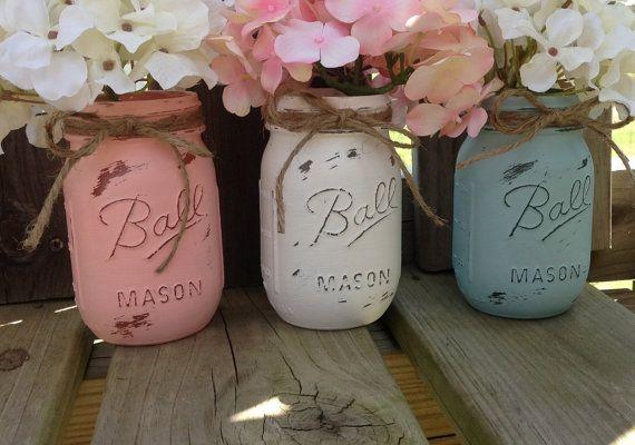 Painted Mason Jars. Vase. Vintage looking by Kateslittleshop, $17.25