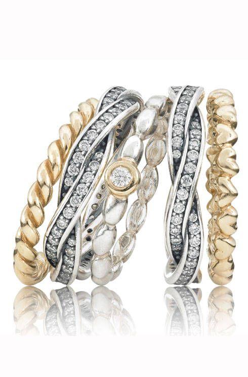 Capri Jewelers Arizona ~ www.caprijewelersaz.com  ~ Pandora 14ct gold and sterling silver stacking rings
