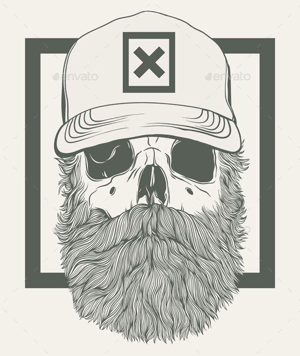 Bearded Skull Vector Illustration EPS