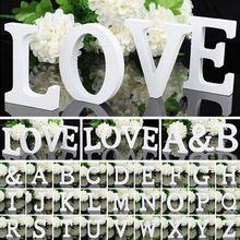 26 Romantik Beyaz Ahşap Alfabe Mektuplar / Duvar Asılı Kreş Dekor El Sanatları Alfabe Düğün Doğum Günü Ev Dekorasyonu (Çin (Anakara))