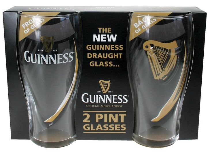Enjoy a brew with a friend or loved one with this dual pack of traditional Guinness pint glasses! The classic tulip glass features the Guinness logo along with an embossed harp symbol. The pint glasses hold approximately 20 fluid ounces for the perfect pour of Guinness! These embossed pint glasses are official Guinness merchandise from Co. Dublin, Ireland!
