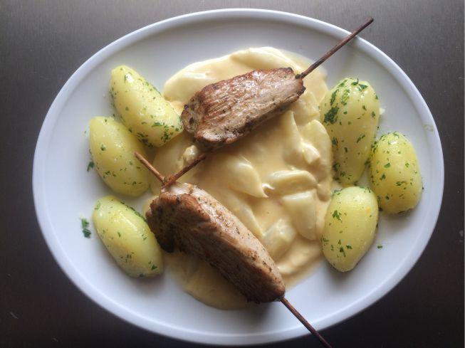 Spargelgemüse mit Fleischspießen und Kartoffeln 5. Mai 2015