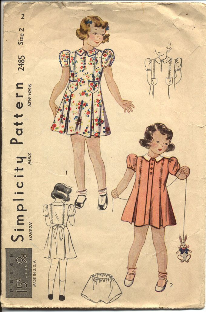 Simplicity 2485 Toddler Girls 1930s Dress Pattern Princess ...