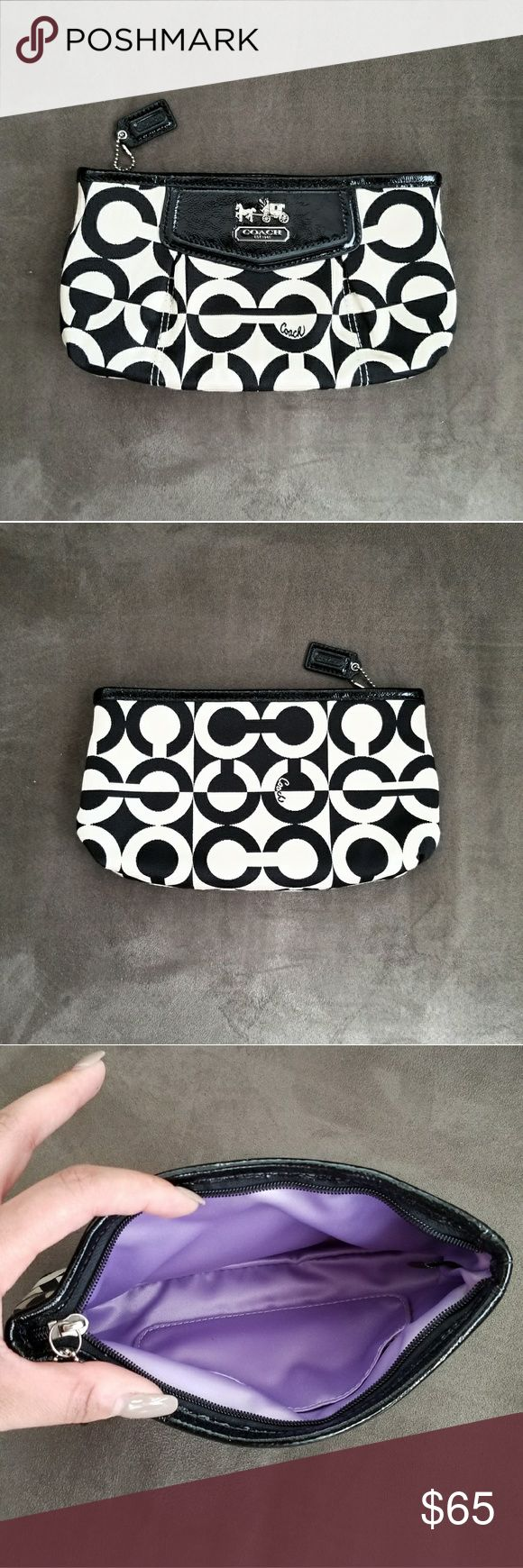 Coach Clutch Beautiful Black & White Sateen Coach Clutch   100% Authentic   LIKE NEW condition!  ▪Sateen fabric exterior with patent leather trim  ▪Top zip closure  ▪Lavender interior fabric lining Coach Bags Clutches & Wristlets