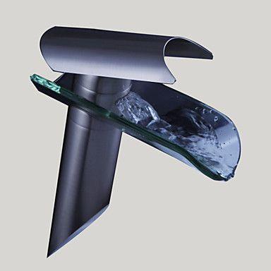 Moderni Pesuallas Vesiputous with Keraaminen venttiili Yksi kahva yksi reikä for Nickel Brushed Pesuallashana