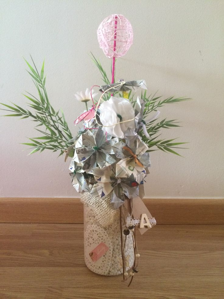 Ramo de flores (hechas con billetes de 5€) para regalar dinero!!!
