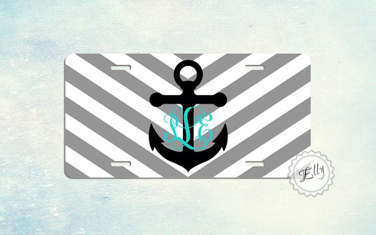 Personalized License Plates Grey Chevron Anchor Monogram Car Tag