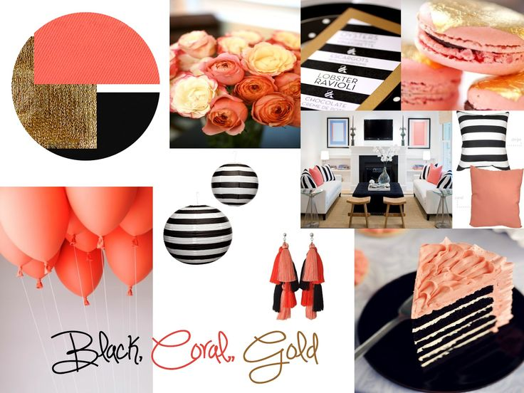 Little Sooti: Inspiration Board: Black, Coral & Gold - love those black and white lanterns
