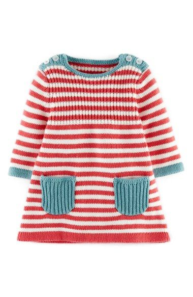 Main Image - Mini Boden Stripy Knit Dress (Baby Girls)