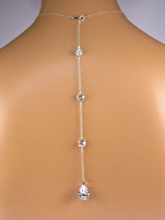 Kulisse Halskette Anlage Birne geformt STRASS von TwoBeWedJewelry