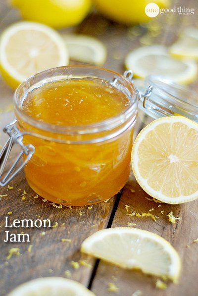 Lemon Jam 4 lemons. 2 tablespoons lemon juice, 1 cup sugar, 4 cups water, Grate zest of 3 lemons into pot. Slice 4th lemon in thin rings and add. remove any seeds. Add 1 cup water bring to boil. simmer for 10 minutes. Strain the water off.  Add another cup of water. Simmer  10 minutes and strain again. Add sugar, lemon juice,  2 cups of water. Bring to a boil then Simmer until the mixture starts to thicken, about 30-45 minutes. Pour the jam into a jar