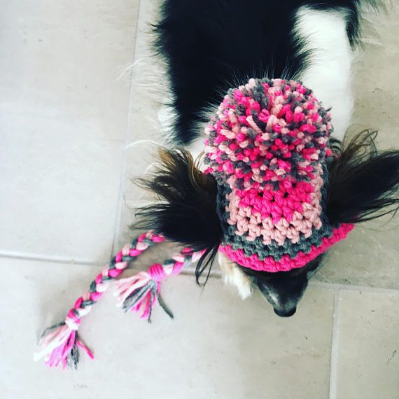 I N F O:  Photography prop/ Holiday gift!  Hadley Paige Designs hand crochet pompom hat for your fur baby! ----- C O L O R:  Choose color #1 & color #2 from both drop down menus. OR choose custom 3 color from each menu then state your 3 color # choices in the text box via checkout.
