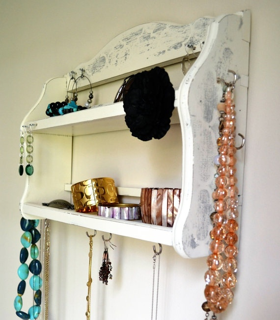 Hanging Jewelry Organizer / Display w/ shelves by MyFrenchieLife, $18.00