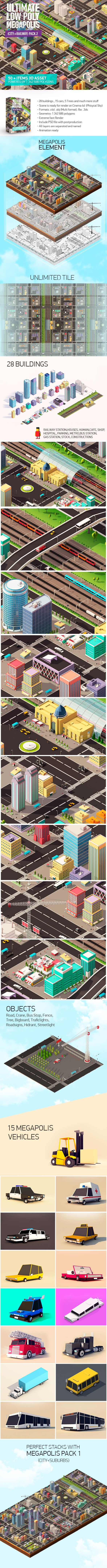 Ultimate Low Poly Megapolis Pack2 (City + Railway) 3D Models Design Template #cinema4d #3D #3dDesign Download here: https://3docean.net/item/ultimate-low-poly-megapolis-pack2-city-railway/18316186?ref=yinkira
