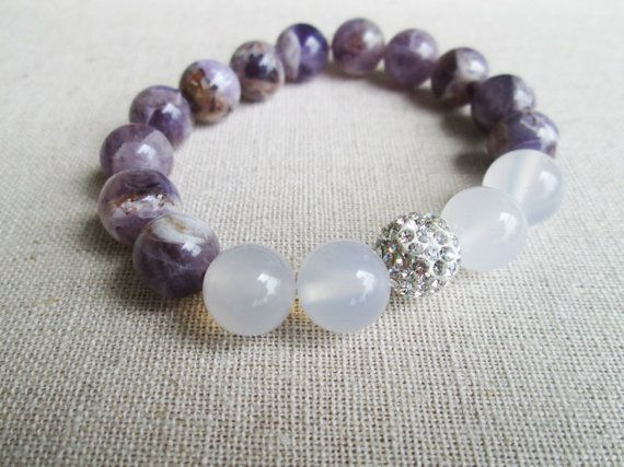 Brilliance - Beaded Stretch Bracelet - Marble Amethyst, White Jade with Silver Pave Ball