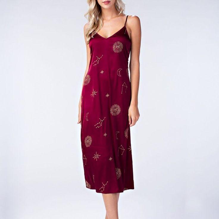 Burgundy Celestial Satin Slip Dress