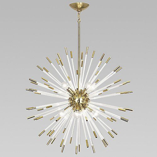 Dynamic and full of life, the Robert Abbey Andromeda Pendant is like a fresh burst of energy in the form of modern lighting. Dozens of clear acrylic rods extend from the central sphere, each tipped with matching metal caps. When lit, the illumination bounces from one rod to the next, creating a lit atmosphere with a creative flair.