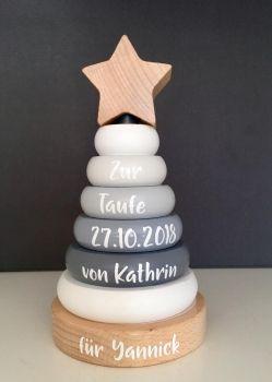 "JaBaDaBaDo W7120 Holz Ring Stapelturm Edition TAUFE grau / weiß / natur | by Schmatzepuffer® ""personalisiert"""