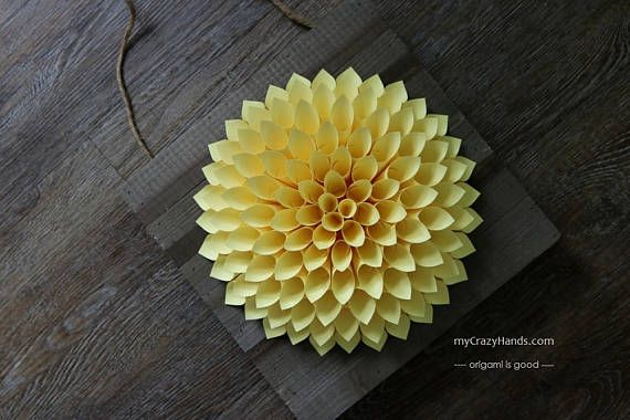 ONE OF a KIND: pale yellow paper dahlia with rustic plank || #CountryHomeDecor #WeddingFlower #YellowPaperDahliam -{mycrazyhands.com}