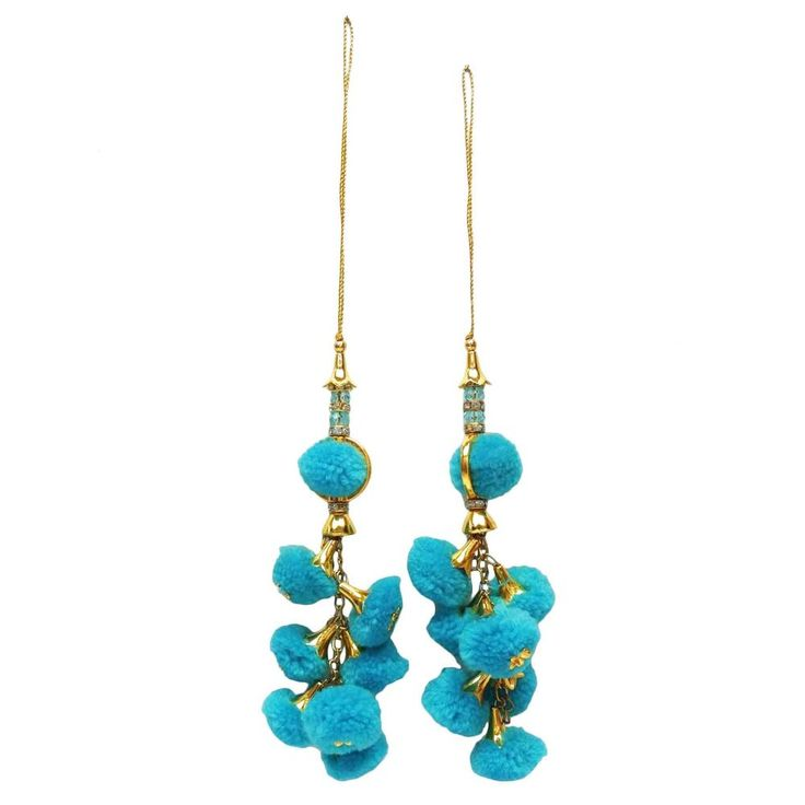 Pom Pom Latkans Blue Tassels Beaded Blouse Sari Crafting Sewing Accessory 1 Pair #indianbeautifulart