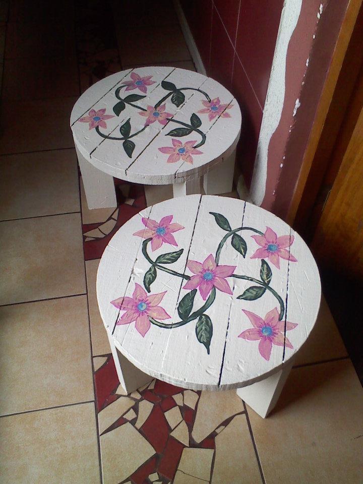 Mesas de madera 46 cm de diámetro x 33 cm de altura