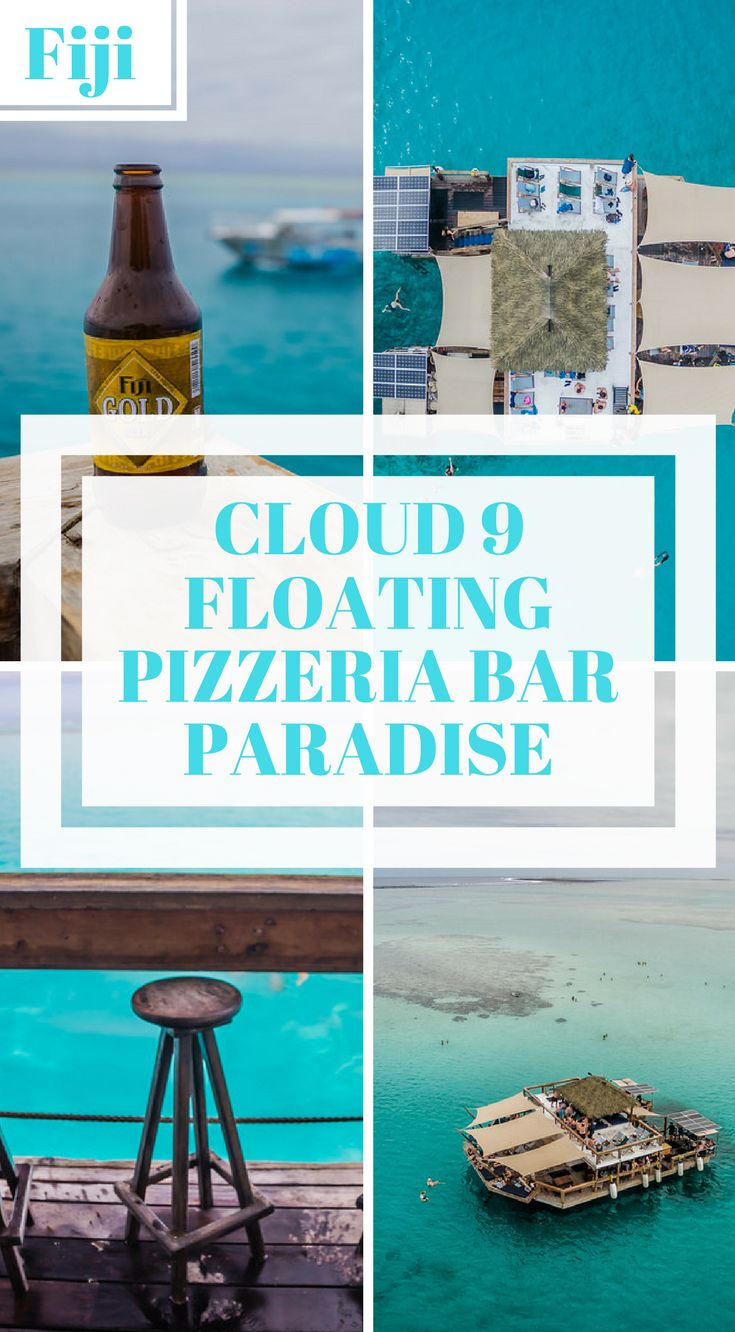 Cloud 9 floating pizzeria bar in paradise.  Cloud 9is a floating bar and watersport haven in the middle of the ocean with its own  Pizzeria! and full bar located in the beautiful Mamanuca Island group in Fiji, we cater to all events right here on the ocean. It's an experience like no other! Click to read more. #Fiji #Travel #Bar #Cloud9 #AdventureTravel