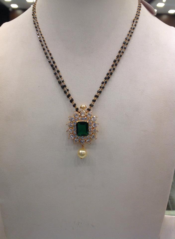 double row black beads chain