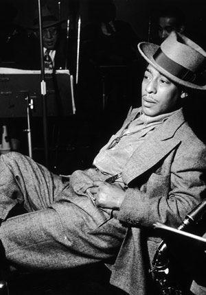 Johnny Hodges  1906-1970  Alto saxophonist, Duke Ellington Orchestra  Left: circa 1945
