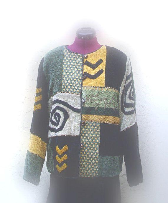 Holiday Sale Color Block Patchwork Jacket/ Vintage by KheGreen