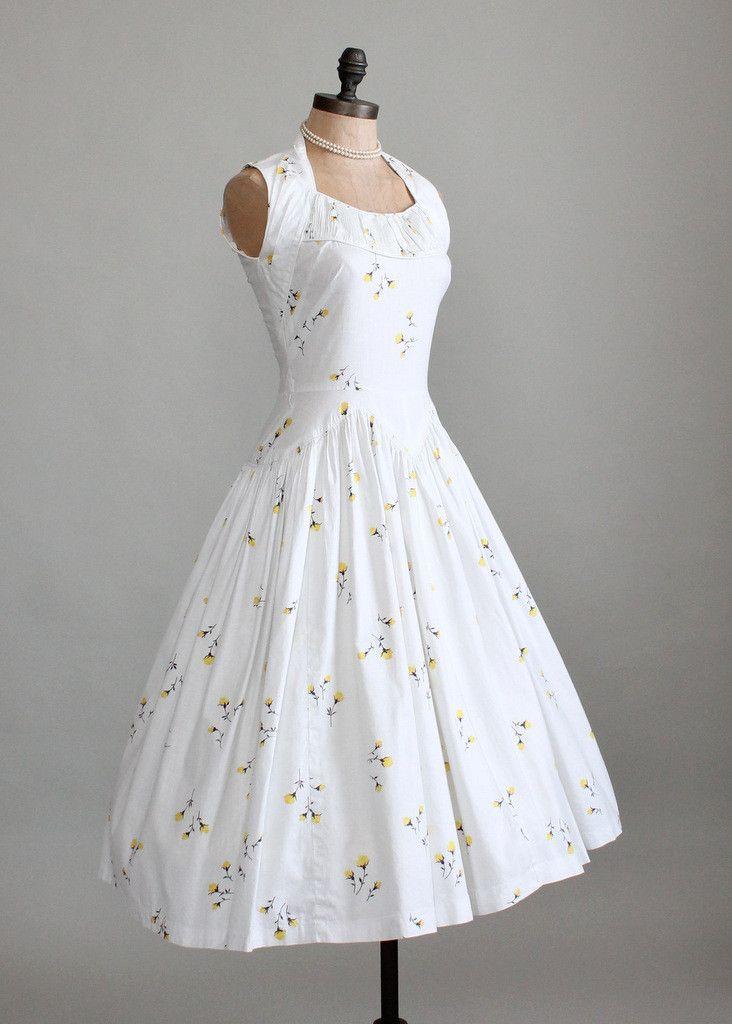 Vintage 1950s White Floral Cotton Sundress Christa's graduation dress style