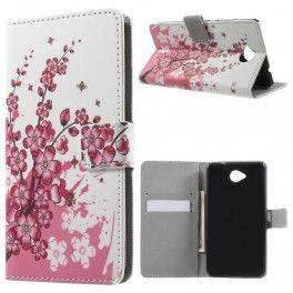 Lumia 650 vaaleanpunaiset kukat puhelinlompakko.