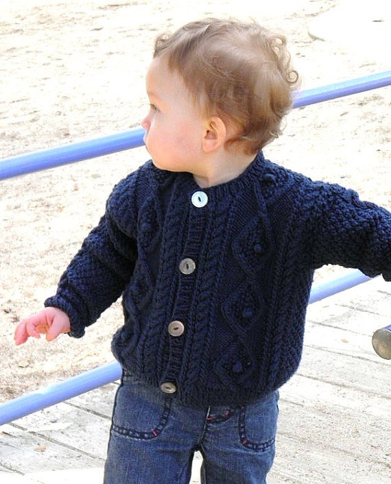 Hand Knit Baby Fisherman Sweater Size 12 Months by BabywearbyBabs, $65.00