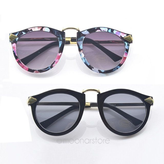 Vintage Retro Women's Unisex Sunglasses Arrow Style Metal Frame Round 2 Colors