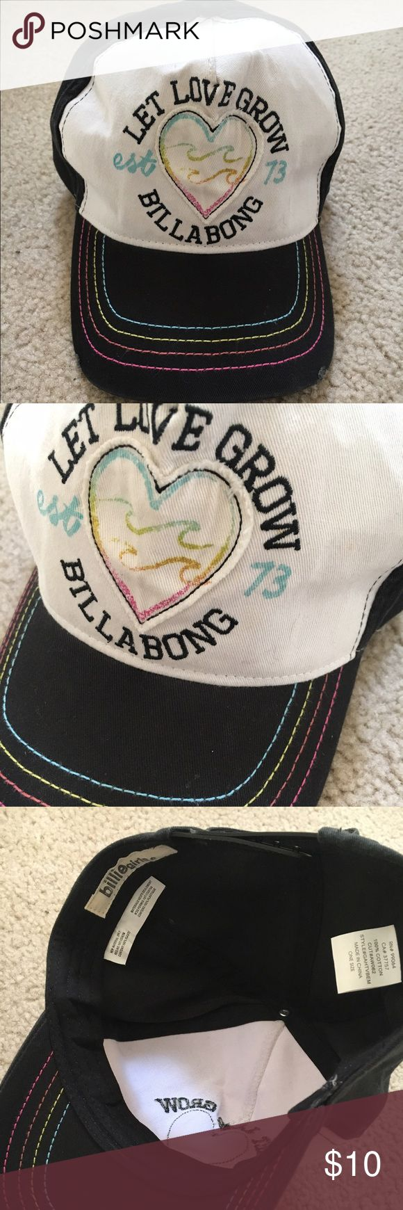 Billabong Girls Baseball Hat Like new, maybe worn twice, hat by Billabong( Billie girls ). Black color hat with adjustable back snap closure. Billabong Accessories Hats