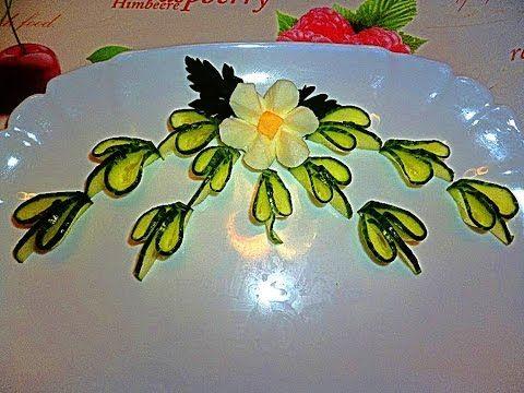Цветы из яйца и листья из огурца! Flowers of eggs! Украшения тарелки! Decoration of cucumber! - YouTube