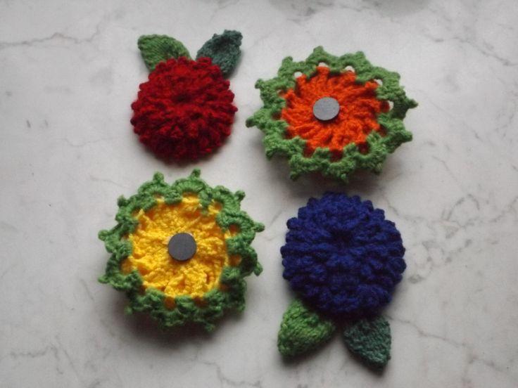 Hűtőmágnesek II. (Fridge magnets II.) #fridgemagnet #flowers #crochet #handmadestuff #magnet