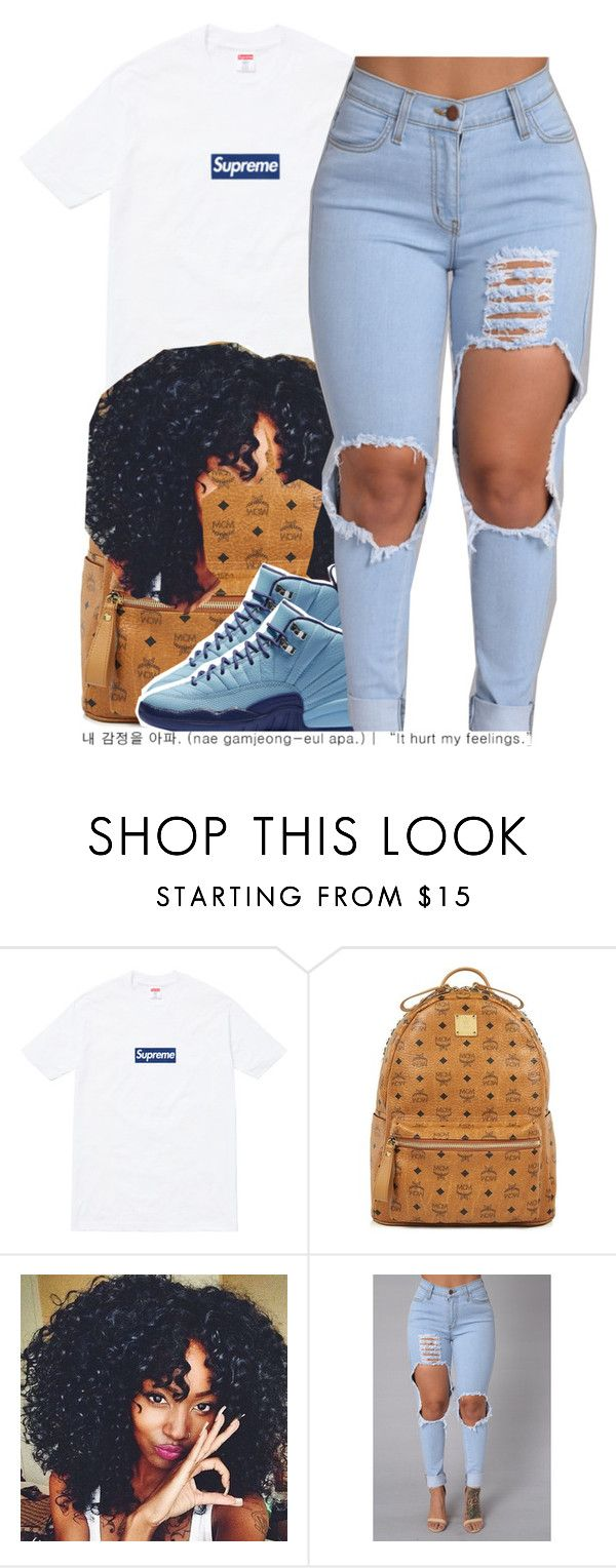 """""""supreme."""" by trinityannetrinity ❤ liked on Polyvore featuring Supreme and MCM"""