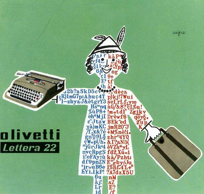 Manifesto di R. Savignac per la macchina per scrivere Lettera 22
