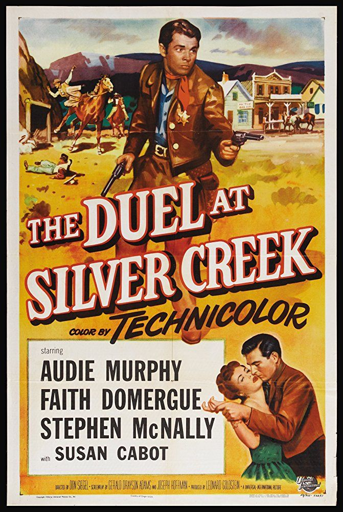 Audie Murphy, Faith Domergue, and Stephen McNally in The Duel at Silver Creek (1952)