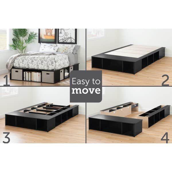 Full Size Black Oak Platform Storage Bed Overstock Com