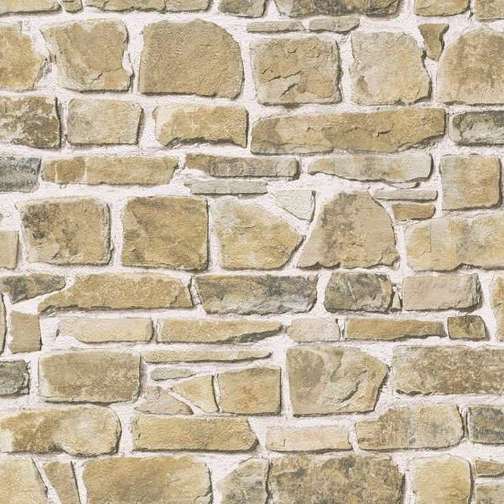 This stone effect brick wall design in a natural colour is great for  creating a rustic looking feature wall. This wallpaper has a slight  textured feel. - 50 Best Brick Effect Wallpaper Images On Pinterest Bricks, Brick