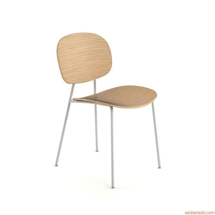 Tondina | Sedia in metallo e legno di rovere naturale, senza braccioli